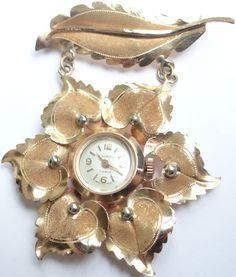 Feliz Jóias - Anos 50/60 - Relógio Broche Pendente Em Ouro - R$ 1.950,00 no MercadoLivre