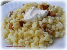 Mamka varí ♥ : BRYNDZOVÉ HALUŠKY Tofu, Holiday Recipes, Risotto, Cauliflower, Food And Drink, Pasta, Vegetables, Ethnic Recipes, Head Of Cauliflower