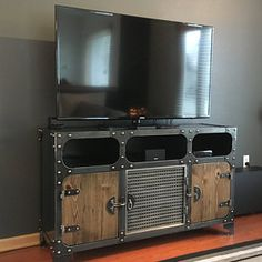 Modern industrial media console (fr) Carnegie - France Steel TV Stand Vintage cabinet (fr) Entertainment center (in English) Audio (audio) HiFi Retro - Trend Industrial Furniture 2019 Steel Furniture, Bar Furniture, Retro Furniture, Unique Furniture, Rustic Furniture, Furniture Design, Furniture Removal, Furniture Stores, Luxury Furniture