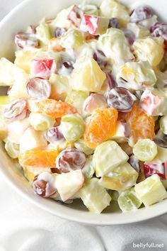 A creamy and luscious fruit salad that is perfect for summer and potlucks!: