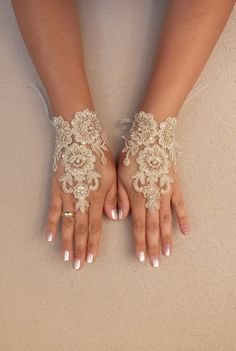 cappuccino Wedding gloves free ship bridal lace fingerless french lace arm warmers mittens cuff gauntlets fingerloop