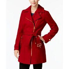 97c072481b9 NWT Michael Kors Asymmetrical Walker Coat Red Gold Sz Small (Orig  275)   fashion