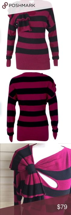 "Tracy Reese Striped Bow Neck Sweater 23"" bust and 30"" length. 70% cotton, 20% nylon and 10% silk. Hard to find, unique piece!! Super cute! Tracy Reese Sweaters Crew & Scoop Necks"