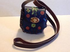 Vintage LEATHER MINI PURSE brown floral MEXICO Hand tooled crossbody Kids  | eBay