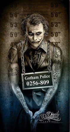The Joker, Gotham City Police mugshot by Marcus Jones Der Joker, Joker Und Harley Quinn, Heath Ledger Joker, Joker Art, Joker Batman, Heath Ledger Tattoo, Joker Poster, Joker Images, Joker Pics