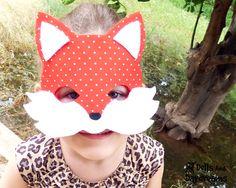 DIY Fox Mask Tail Set PDF Pattern Kids Adults Toddler Carnival Costume Dress up Pretend Play