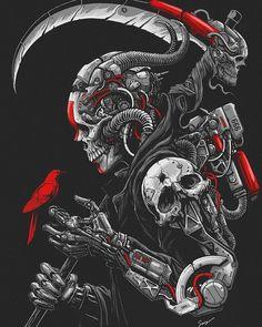 Cyber by Sony Wicaksana Arte Cyberpunk, Demon Art, Dark Fantasy Art, Arte Dark Souls, Grim Reaper Art, Skull Artwork, Skeleton Art, Illustration Vector, Arte Obscura