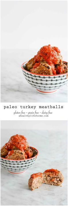Paleo Turkey Meatballs are gluten free dairy free easy delicious family dinner | ahealthylifeforme.com