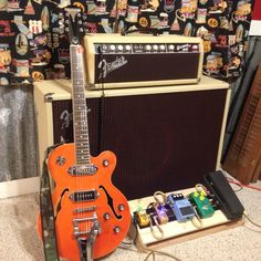 My Orange Epiphone Wildkat with Bigsby tremolo, 1963 Fender Bassman Brownface, Wally Looper, Donner Reverb, Boss Super Chorus, Joyo Vintage Overdrive (tube screamer), and Dunlop Cry Baby. I'm happy with very happy with my current setup.