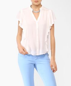 Belted Ruffled Shirt | FOREVER21 - 2000045817