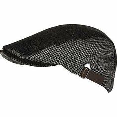 Grey color block tweed flat peak cap