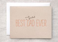 Dad Birthday Card, Father's Day - Best and Greatest Dad Ever - Funny, Eco Friendly, Orange Typography. $4,00, via Etsy.