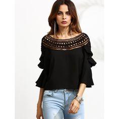 1c6b385cbd1cf Crochet Neck Bell Sleeve Ruffle Top BLACK