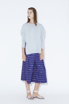 J.won London SS15 collection. Boat Neck Sweater with Printed Woven Back. Mid-Length Wide Pants #Pigeon #blue #navy #red #pants #sweater #spring #summer #2015 #ss15 #jwon #jwonlondon #fashion #fashiondesign #design #knit #knitwear #womenswear #feminine www.j-won.com