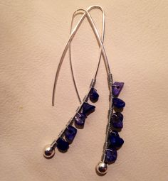 Lapis Wire Wrapped Earrings