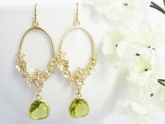 Floral Dangle Earrings Dangle Earrings Drop by LeCharmeJewelry, $25.50