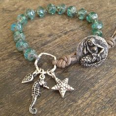 Mermaid Knotted Leather Wrap Bracelet, Shell Beach Endless Summer $36.00