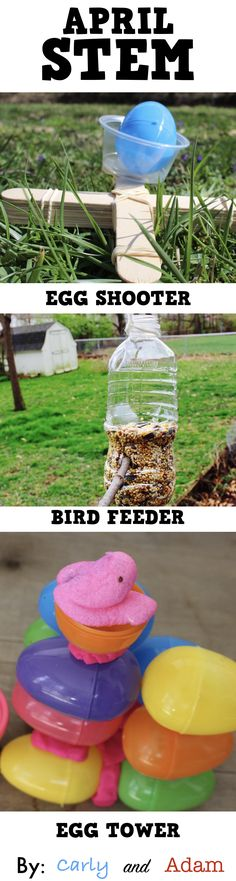 April STEM Challenges for Easter, Spring, and Earth Day (Design a Bird Feeder, Egg Shooter, Egg Tower, and Peep Tower).