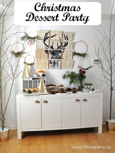 Christmas Dessert Party: easy holiday entertaining with lots of tricks to turn time saving mixes into extra special treats. Dessert Party, Tea Party Menu, Party Food And Drinks, Party Desserts, Dessert Table, Pumpkin Mousse, Pumpkin Spice Syrup, Christmas Tea Party, Christmas Desserts