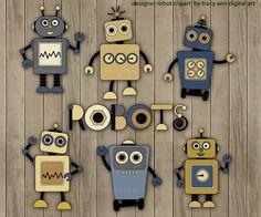 Designer Robot Clip Art Set 3