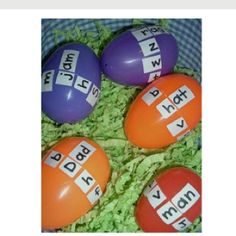 making words with eggs.