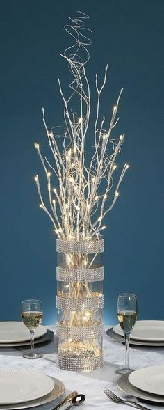 Glittery lighted branches for centerpiece ideas. 27 Inch Silver Glitter Branch with 20 Warm White LED Lights - Battery Operated Branches Allumées, Lighted Branches, White Branches, Branches Wedding, Xmas Decorations, Wedding Decorations, Christmas Decorations For The Home Living Rooms, Prom Decor, Decor Wedding