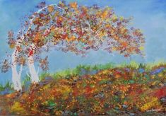 "Saatchi Art Artist Louis Pretorius; Painting, ""Two autumn trees"" #art"