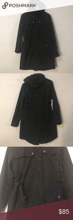 Athleta rain jacket. Size M grey/ black Athleta grey/black rain jacket in superb condition! This jacket has all the great details necessary to keep you out of the elements! Side pulls to cinch waist. Drawstring around hood to keep wind out of face. Zip up front with button closures. Falls around mid thigh. Athleta Jackets & Coats Utility Jackets