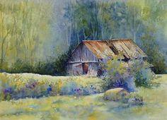 """""""Barn in Berea 2"""" by Kentucky artist, Judy Mudd Watercolor"""