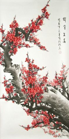Chinese brush painting red plum blossoms, by Zhang Daqian (1899-1983)