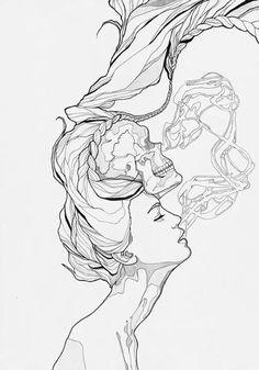 Smoking girl skull tattoo design
