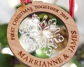Personalised Wooden First Christmas Together Tree Ornament Decorations Snowflake Bauble Gift Personalised Christmas Baubles, First Christmas, Snowflakes, Decorations, Ornaments, Unique Jewelry, Handmade Gifts, Etsy, Custom Christmas Ornaments