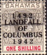 Bahamas 1942 Landfall of Columbus Overprint Fine Used SG 171 Scott 125 Other Bahamas Stamps HERE