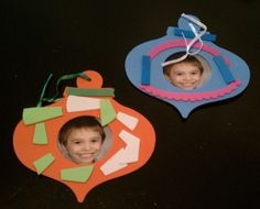Christmas crafts for kids - make ornaments with their faces in it
