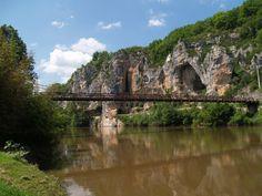 The bridge across the river Lot at Bouzié.