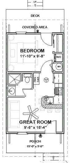 Granny pods guest houses Custom Tiny House Home Building Plans 1 bed Cottage 390 sf --- PDF file Cottage Floor Plans, Small House Plans, House Floor Plans, Guest Cottage Plans, 20x30 House Plans, Guest House Plans, The Plan, How To Plan, Building Plans