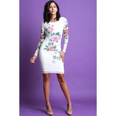 Floral Vine Mesh Bodycon Dress ($48) ❤ liked on Polyvore featuring dresses, long sleeve bodycon dress, long sleeve mesh dress, body con dresses, floral print dress and flower print dress