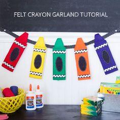 Felt crayon garland tutorial from Perfect for a back-to-school bash! Felt Decorations, School Decorations, School Themes, School Ideas, Crayon Themed Classroom, Art Classroom, Classroom Themes, Preschool Classroom, Back To School Party