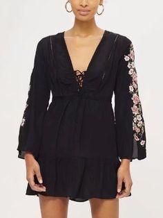 Black V-neck Floral Embroidery Long Sleeve Mini Dress