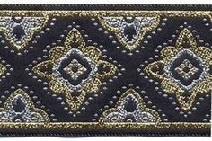 "10 yard lot ~ 1 7/8"" Black Gold Silver Star Fabric Trim"