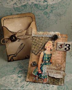 .: Vintage Handmade with love ATC pocket