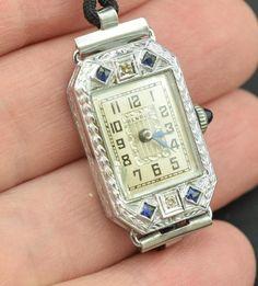 14 K Karat Solid Gold Art Deco Diamond Sapphire Wrist Watch Ladies Benrus - 231 #Benrus