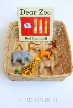 Dear Zoo storytelling basket for toddlers. If you don't have figures, you could print out pictures of each animal for the basket!