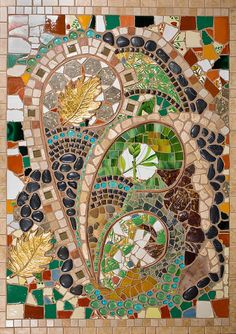 Mixed Media Mosaic art piece bursting with texture and color.. $699.00, via Etsy.