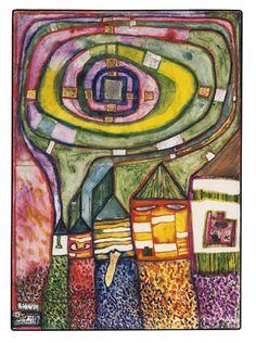 Paintings - Hundertwasse MAISONS ESCARGOT autrefois: DIVISIONS DE SENS 1987 r