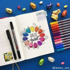 Bullet journal monthly cover page, April cover page, hand lettering, Easter eggs drawing, plant doodles. | @onki_art
