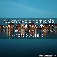 Quien vive en armonía consigo mismo vive en armonía con el universo. -Marco Aurelio