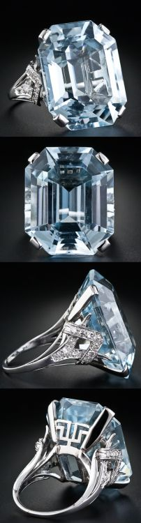 ♥ ♥ Large Art Deco Aquamarine Ring • size 49.86 carat and is a superb Emerald Cut and exquisitely mounted. The sides are set with eleven single cut diamonds on the mounts and a Greek-key variation on the gallery. ♥ ♥