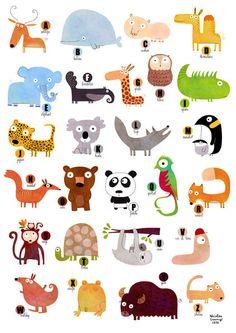 Plakat, Das ABC der Tiere A121  von La Parenthèse enchantée auf DaWanda.com