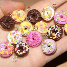 Fimo Donut Charms 60p each www.lucyssweetbeads.co.uk